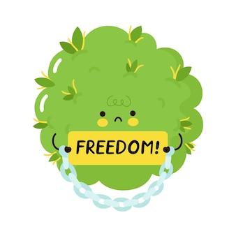 Carácter de brote de hierba divertido lindo mantenga signo de libertad. icono de ilustración de personaje de kawaii de dibujos animados plano de vector. aislado sobre fondo blanco hierba en esposas, prisión, concepto de personaje de dibujos animados de legalización