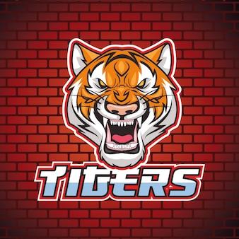 Carácter de cabeza salvaje animal tigre en ilustración de fondo de pared