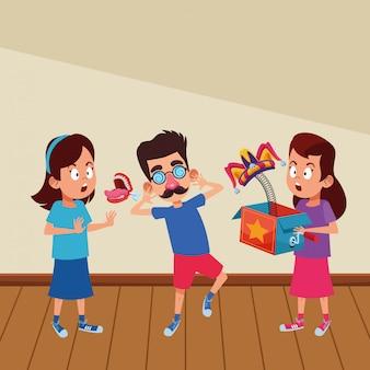 Carácter de cartón de avatar de niños pequeños