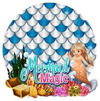 Carácter de cartón de sirena hermosa con banner de escalas pastel en blanco aislado