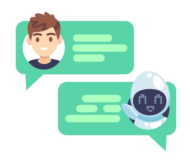 Carácter de chatbot. ayudante en línea charlando con el hombre, robot virtual responde preguntas del cliente, captura de pantalla del dispositivo con bocadillos y avatares, concepto de vector plano de servicio de ayuda de diálogo