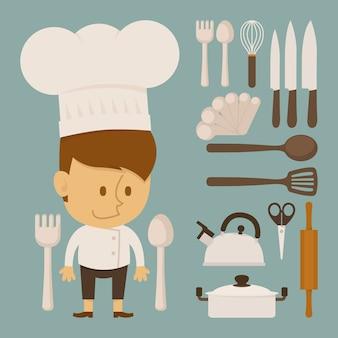 Carácter de chef y herramienta, diseño plano