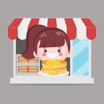 Carácter de chef lindo en carácter de tienda de panadería.