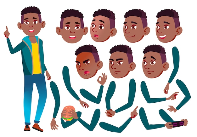 Carácter de chico adolescente. africano. creador de creación para animación. enfrenta las emociones, las manos.