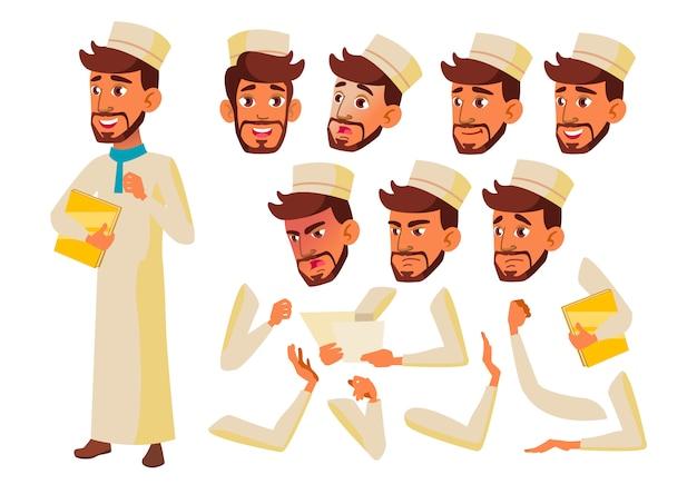 Carácter de chico adolescente. árabe. creador de creación para animación. enfrenta las emociones, las manos.