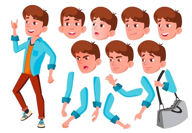 Carácter de chico adolescente. europeo. creador de creación para animación. enfrenta las emociones, las manos.