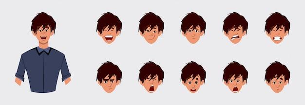 Carácter de chico lindo con varias emociones faciales y sincronización de labios. personaje para animación personalizada.