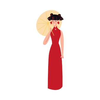 Carácter chino de la mujer joven con el ejemplo del vector del bosquejo del paraguas aislado