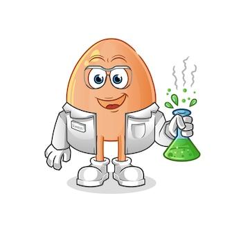 Carácter científico de huevo. mascota de dibujos animados