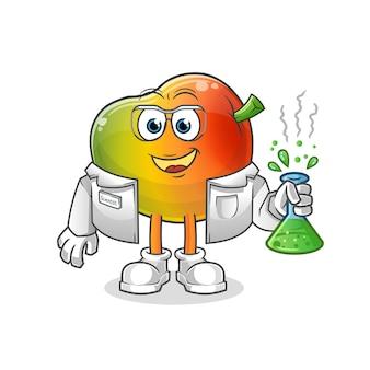 Carácter científico de mango. mascota de dibujos animados