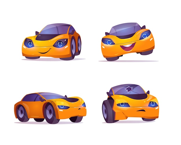Carácter de coche de dibujos animados expresa emociones felices y tristes