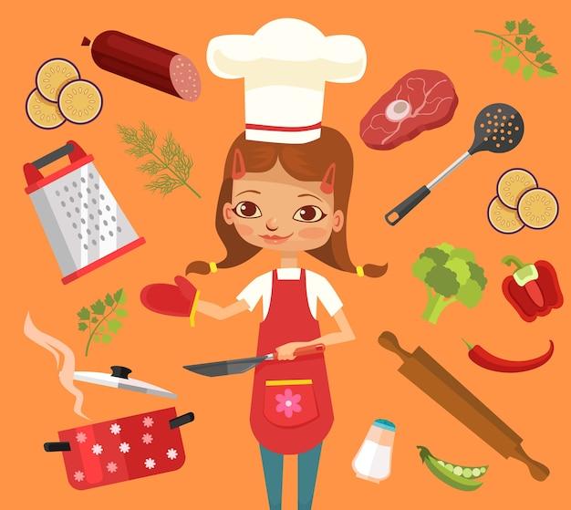 Carácter de cocina de mujer mantenga papel de recetas.