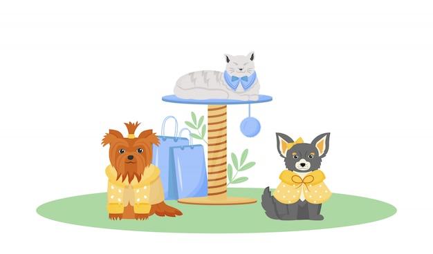 Carácter de color de moda para mascotas