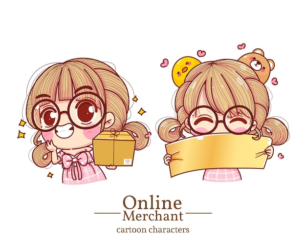 Carácter del comerciante en línea de la muchacha linda que lleva cajas y que lleva a cabo la historieta de los carteles que establece la ilustración.