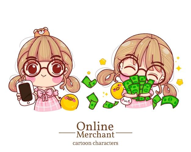 Carácter del comerciante en línea de la muchacha linda que sostiene el móvil y abraza el ejemplo determinado de la historieta del dinero.