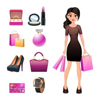 Carácter de compras mujer con accesorios de moda joyas y cosméticos.