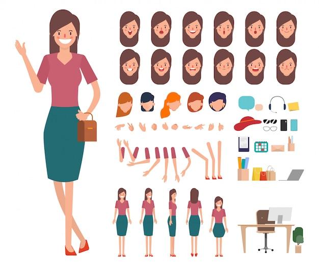 Carácter de las compras de la mujer joven listo para la boca de la animación.