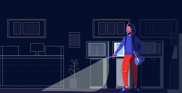 Carácter criminal sosteniendo bolsas de dinero ladrón usando una linterna robando el concepto de robo moderno banco nocturno interior boceto integral