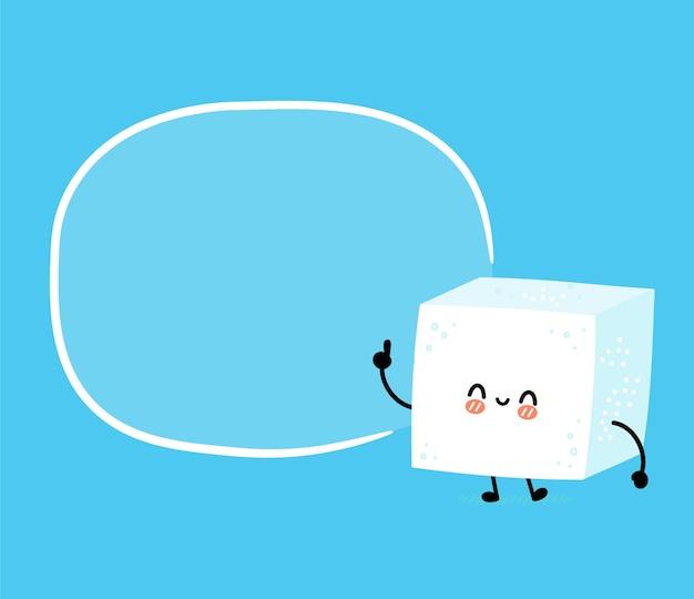 Carácter de cubo de azúcar feliz divertido lindo con cuadro de texto