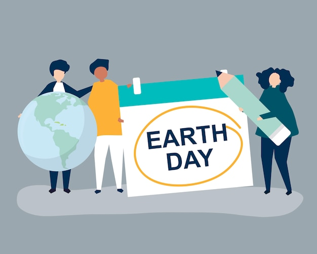 Carácter de la gente y la ilustración del concepto del día de la tierra