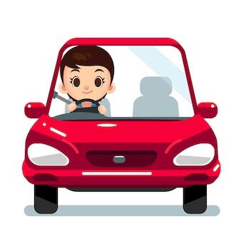 Carácter de mujer conduciendo