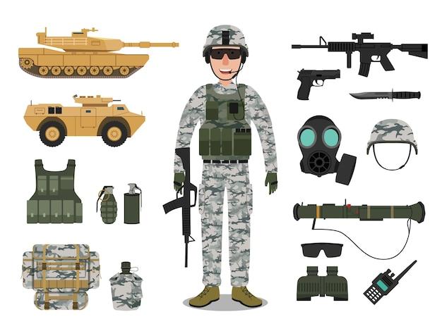Carácter de soldado del ejército con vehículo militar
