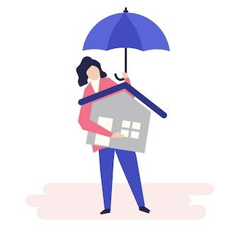 Carácter de una mujer y un concepto de seguro residencial