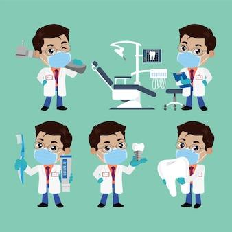 Carácter de dentista y concepto de cuidado dental.