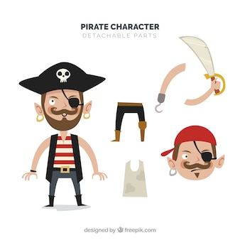 Carácter desmontable pirata