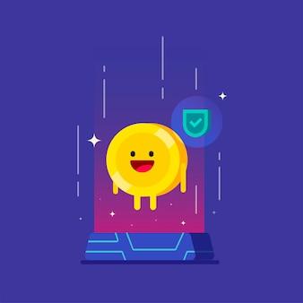 Carácter de dinero feliz de tecnología digital de criptomoneda confiable