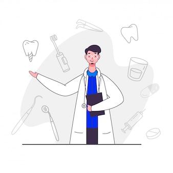 Carácter de doctor hombre con iconos dentales de arte lineal sobre fondo blanco.