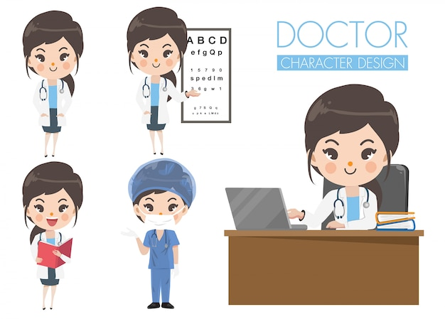 Carácter doctores mujeres muestran una variedad de gestos, palabras y emociones.