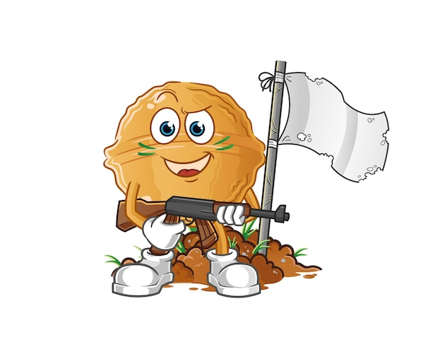 Carácter del ejército de nuez. mascota de dibujos animados
