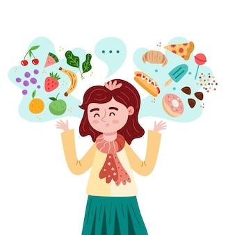 Carácter eligiendo entre alimentos saludables y no saludables