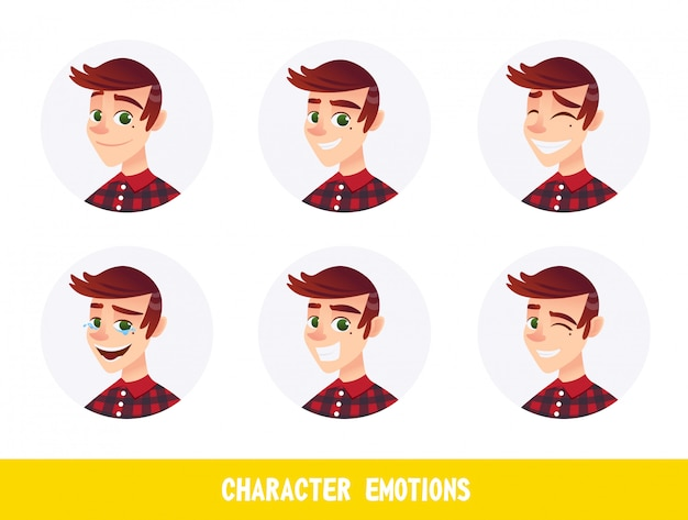 Carácter emociones avatares cartoon flat.
