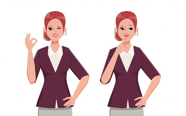 Carácter de empresaria aprobado y pose de pensamiento. ropa de traje de oficina. personas en ocupación trabajando.
