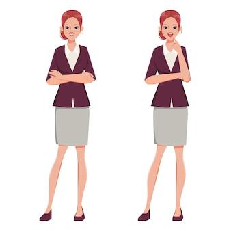Carácter de empresaria cruzando los brazos y pose de pensamiento. ropa de traje de oficina. personas en ocupación trabajando.