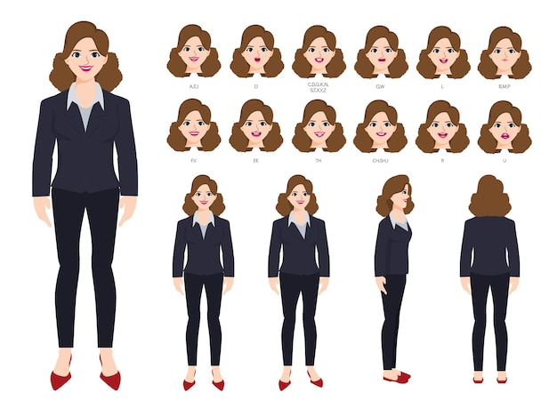 Carácter de empresaria con diferentes poses y emociones.