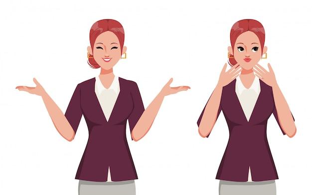 Carácter de empresaria feliz y gran sorpresa. ropa de traje de oficina. personas en ocupación trabajando.