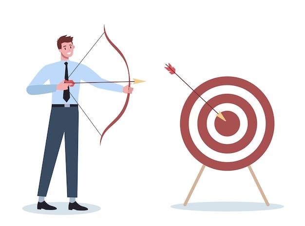 Carácter empresarial apuntando al blanco y disparando con flecha. el empleado dispara al objetivo. hombre ambicioso disparando. idea de éxito y motivación.