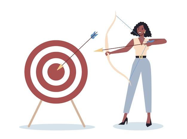 Carácter empresarial apuntando al blanco y disparando con flecha. el empleado dispara al objetivo. mujer ambiciosa de tiro. idea de éxito y motivación.