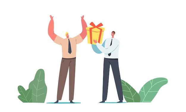 Carácter de empresario dando caja de regalo envuelta a un colega alegre para celebración de cumpleaños o evento