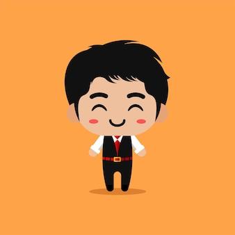 Carácter de empresario con expresiones faciales divertidas y lindas