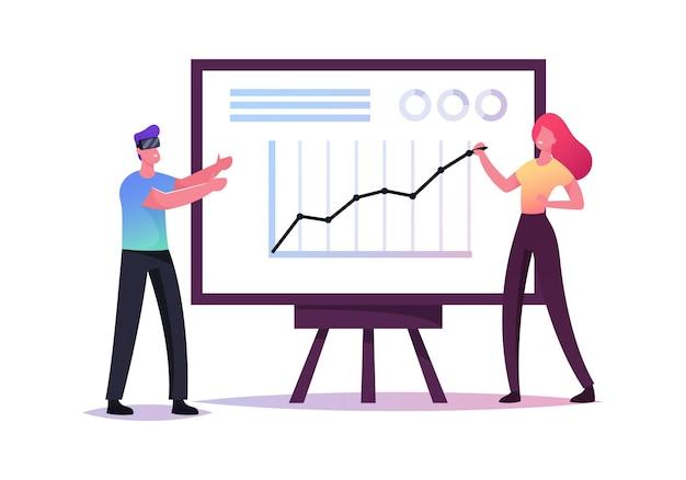Carácter de empresario en gafas de realidad virtual en el gráfico de flechas en crecimiento imagine un negocio exitoso