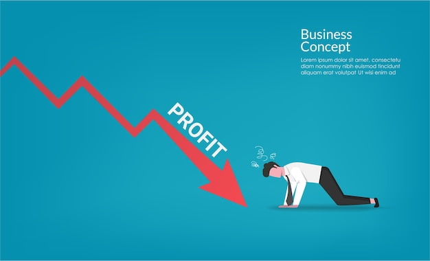 Carácter de empresario impactante hacia abajo crisis financiera financiera flecha roja. ilustración de símbolo de metáfora empresarial