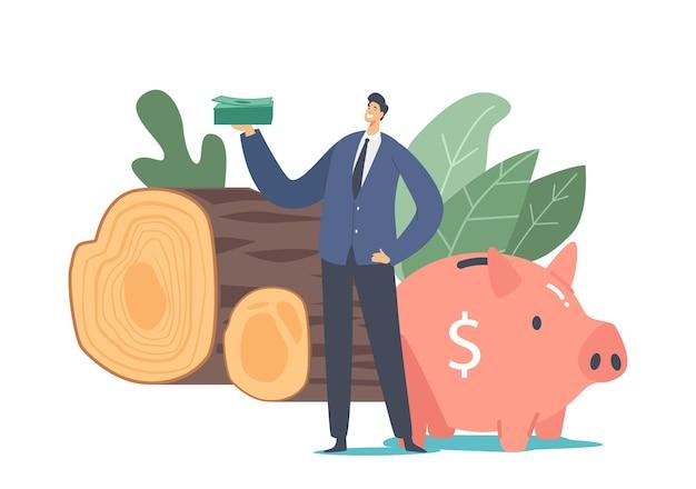 Carácter de empresario minúsculo con soporte de pila de dólares en enorme alcancía y troncos de madera