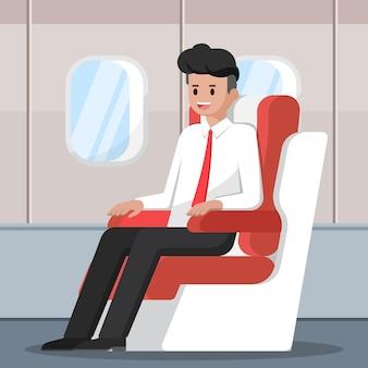 Carácter de empresario sentado y relajarse en el asiento de clase ejecutiva en el avión.