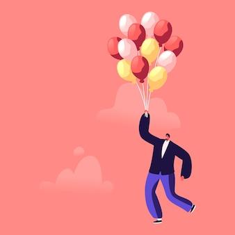 Carácter de empresario volando con globo de aire en aislamiento de cuarentena de escape de aire