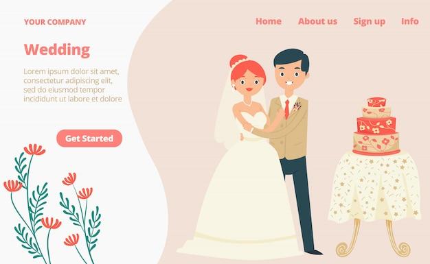 Carácter encantadora pareja tradicional boda ropa aterrizaje página web, concepto banner sitio web plantilla dibujos animados ilustración.