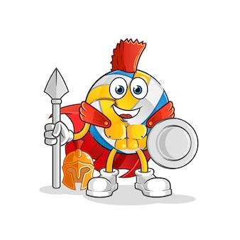 Carácter espartano de voleibol. mascota de dibujos animados
